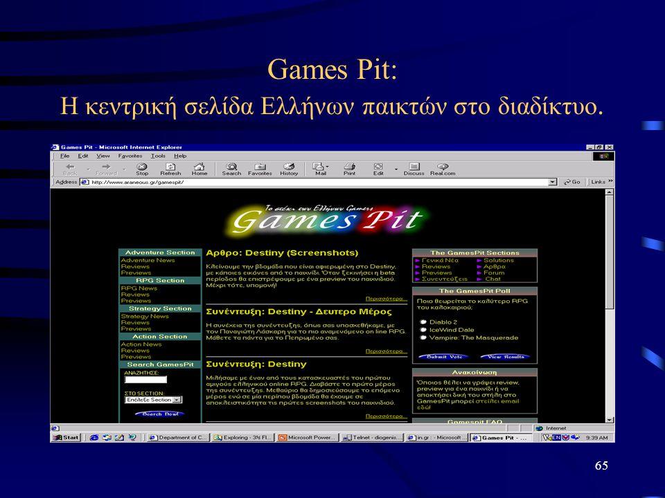 Games Pit: Η κεντρική σελίδα Ελλήνων παικτών στο διαδίκτυο.