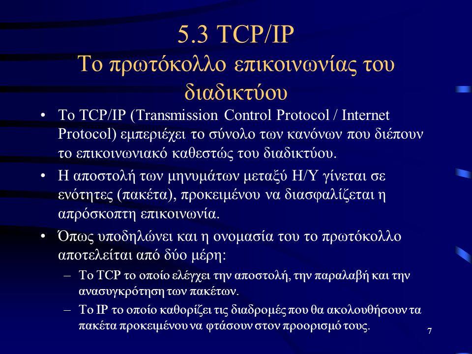 5.3 TCP/IP Το πρωτόκολλο επικοινωνίας του διαδικτύου