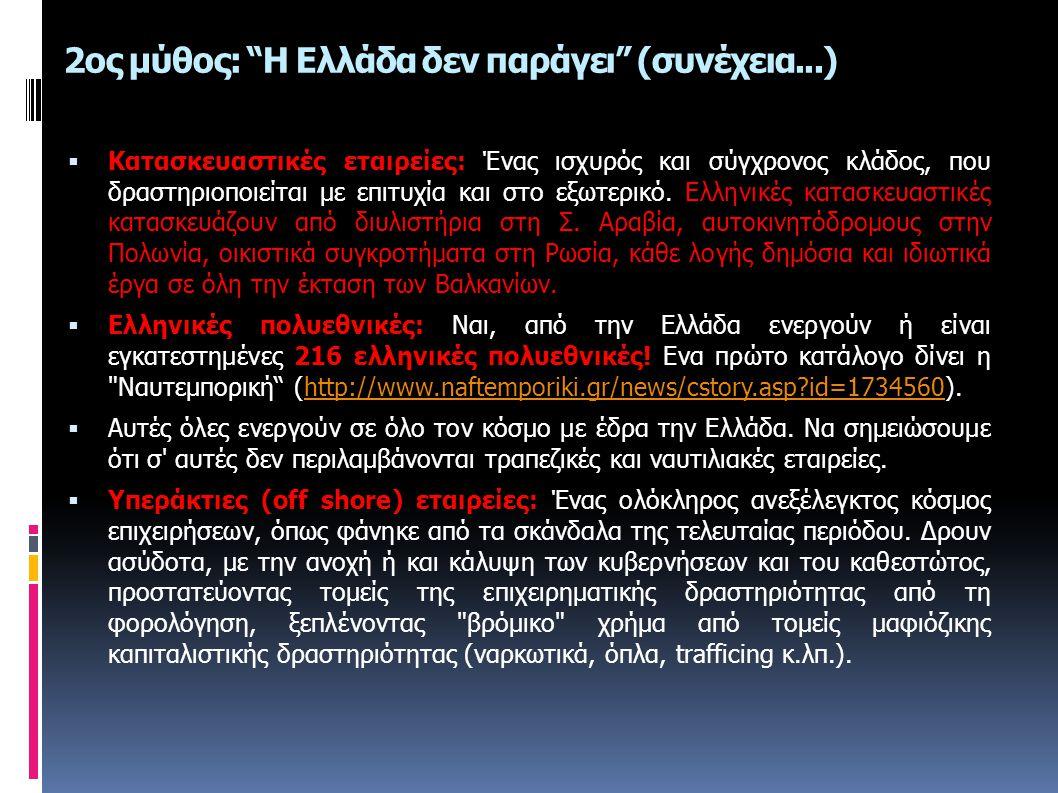 2ος μύθος: Η Ελλάδα δεν παράγει (συνέχεια...)