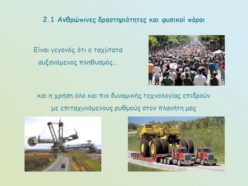 2.1 Ανθρώπινες δραστηριότητες και φυσικοί πόροι
