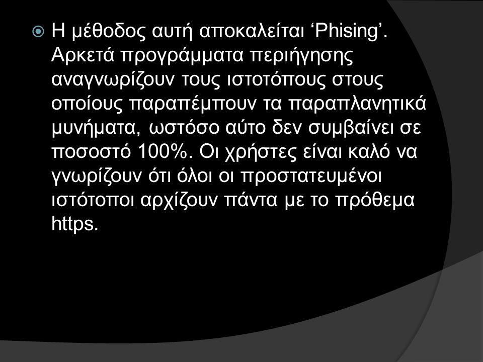 Η μέθοδος αυτή αποκαλείται 'Phising'