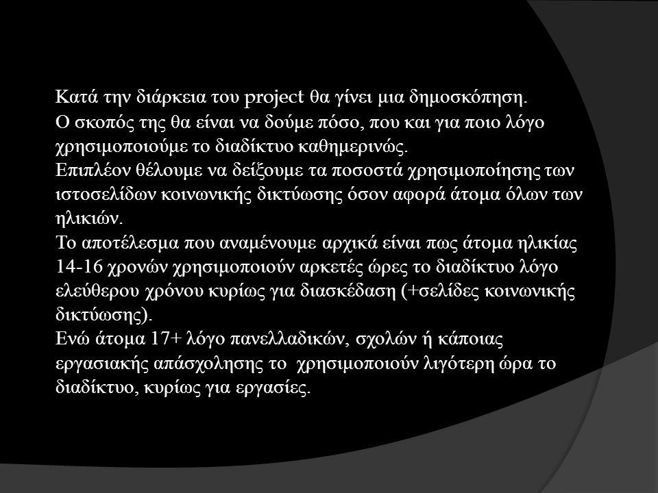 Κατά την διάρκεια του project θα γίνει μια δημοσκόπηση.