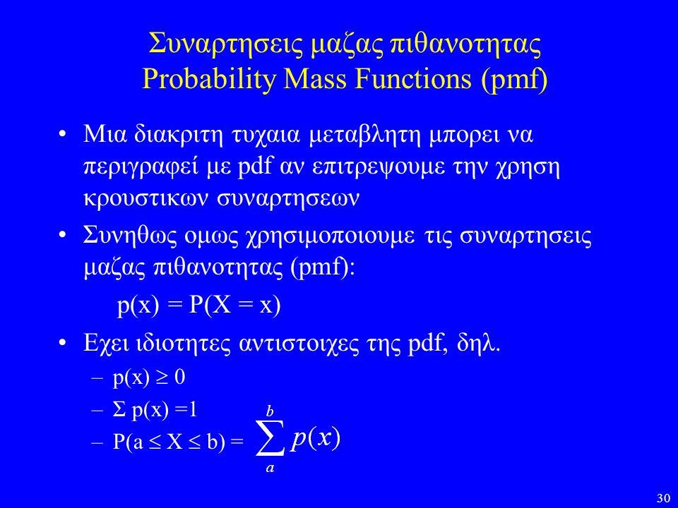 Συναρτησεις μαζας πιθανοτητας Probability Mass Functions (pmf)