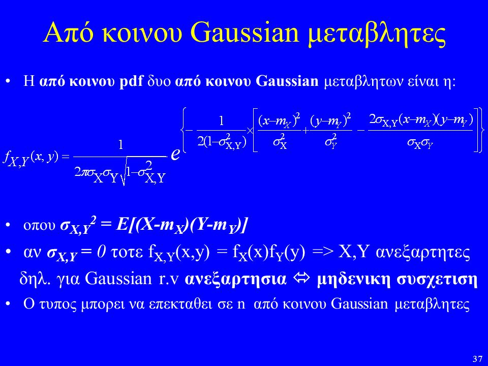 Από κοινου Gaussian μεταβλητες