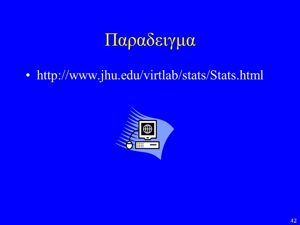Παραδειγμα http://www.jhu.edu/virtlab/stats/Stats.html