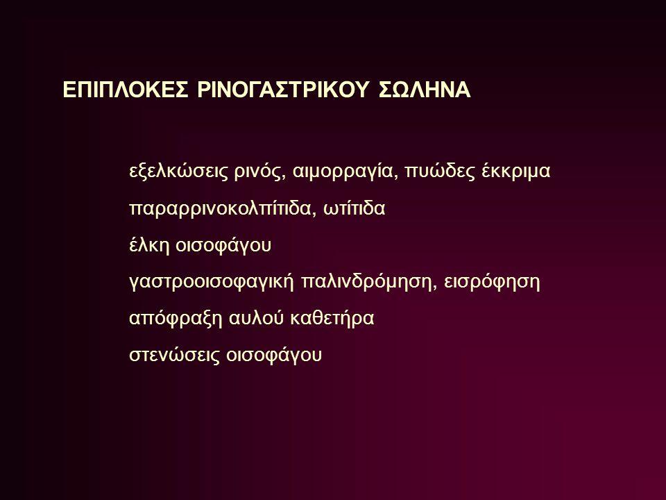 ΕΠΙΠΛΟΚΕΣ ΡΙΝΟΓΑΣΤΡΙΚΟΥ ΣΩΛΗΝΑ