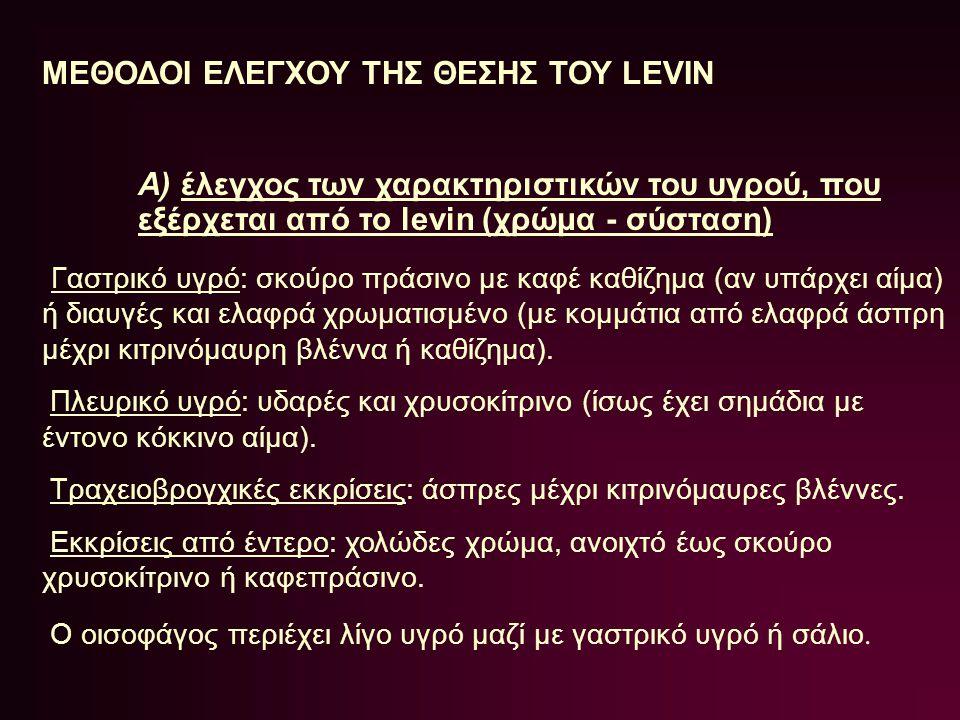 ΜΕΘΟΔΟΙ ΕΛΕΓΧΟΥ ΤΗΣ ΘΕΣΗΣ ΤΟΥ LEVIN