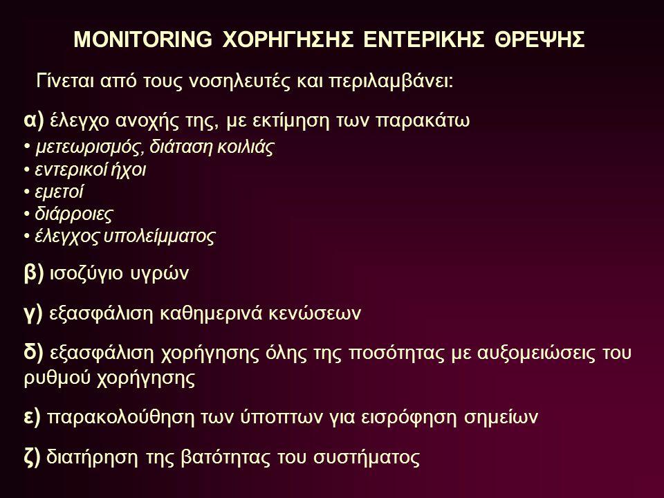 MONITORING ΧΟΡΗΓΗΣΗΣ ΕΝΤΕΡΙΚΗΣ ΘΡΕΨΗΣ