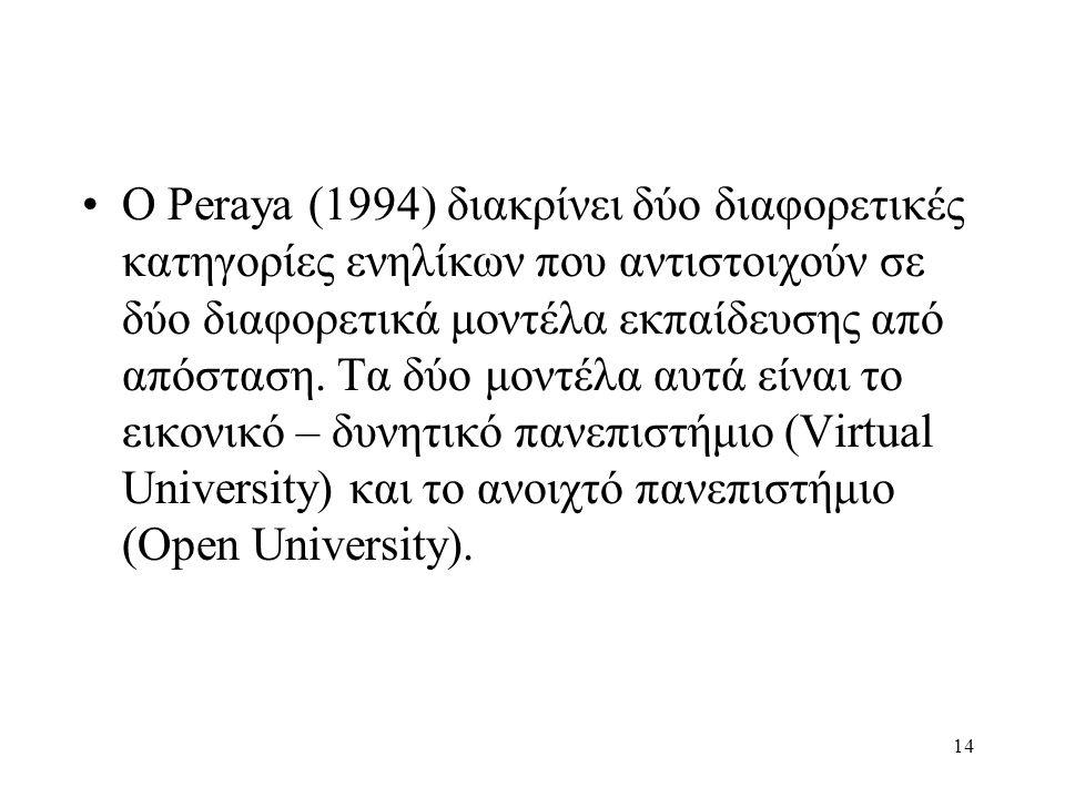 Ο Peraya (1994) διακρίνει δύο διαφορετικές κατηγορίες ενηλίκων που αντιστοιχούν σε δύο διαφορετικά μοντέλα εκπαίδευσης από απόσταση.