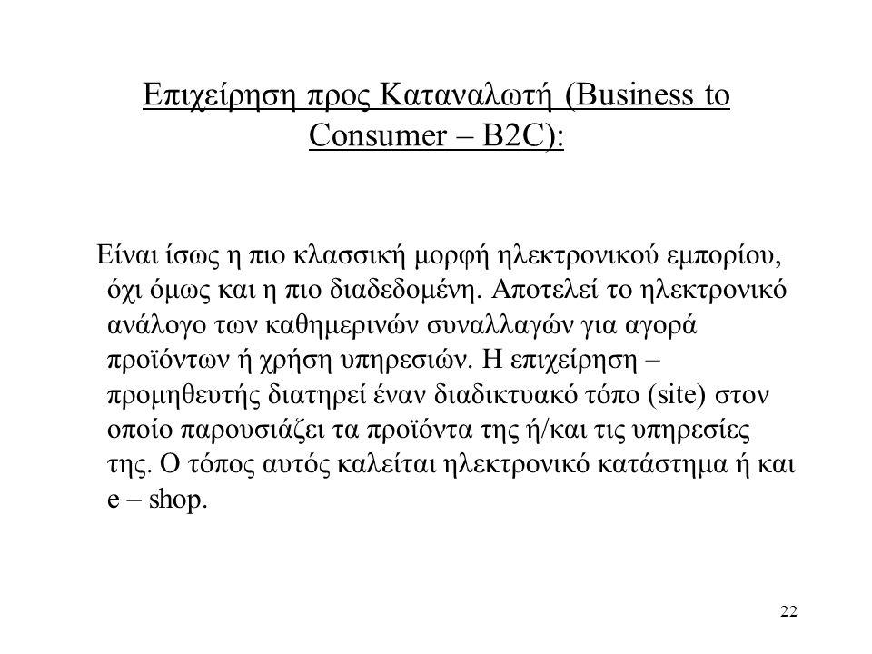 Επιχείρηση προς Καταναλωτή (Business to Consumer – B2C):