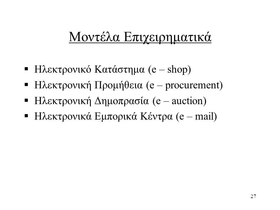 Μοντέλα Επιχειρηματικά