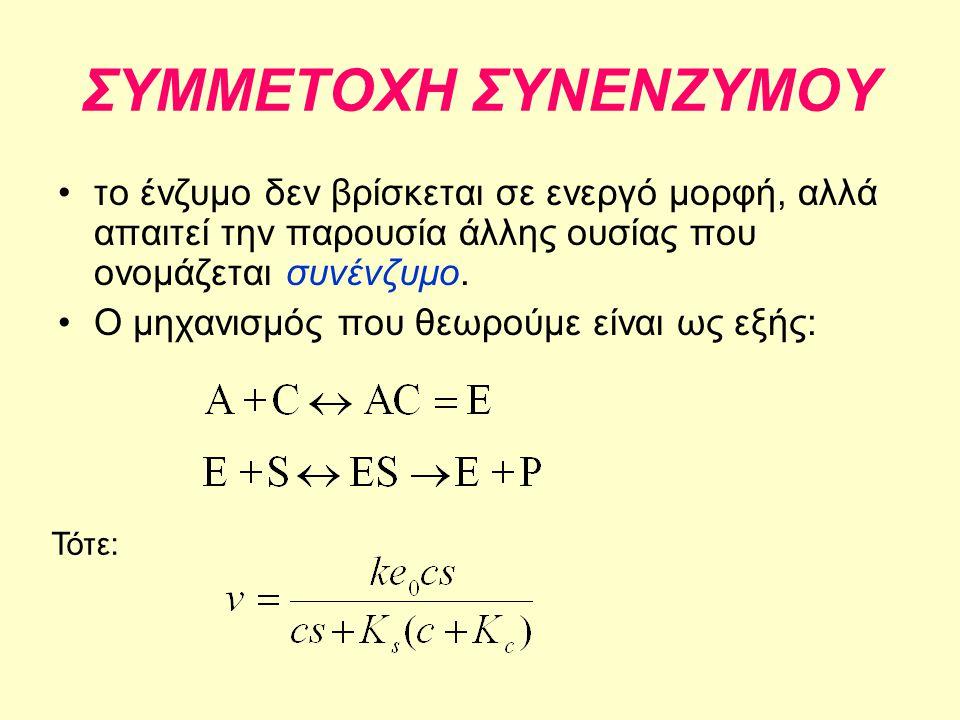 ΣΥΜΜΕΤΟΧΗ ΣΥΝΕΝΖΥΜΟΥ το ένζυμο δεν βρίσκεται σε ενεργό μορφή, αλλά απαιτεί την παρουσία άλλης ουσίας που ονομάζεται συνένζυμο.