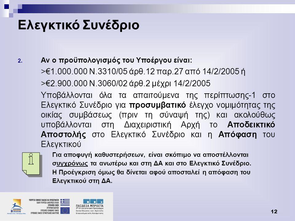 Ελεγκτικό Συνέδριο Αν ο προϋπολογισμός του Υποέργου είναι: >€1.000.000 Ν.3310/05 άρθ.12 παρ.27 από 14/2/2005 ή.