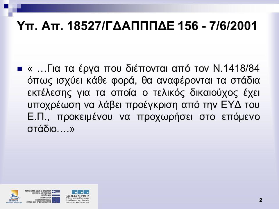 Υπ. Απ. 18527/ΓΔΑΠΠΠΔΕ 156 - 7/6/2001