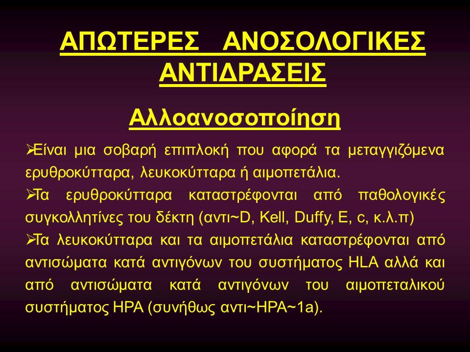 ΑΠΩΤΕΡΕΣ ΑΝΟΣΟΛΟΓΙΚΕΣ ΑΝΤΙΔΡΑΣΕΙΣ