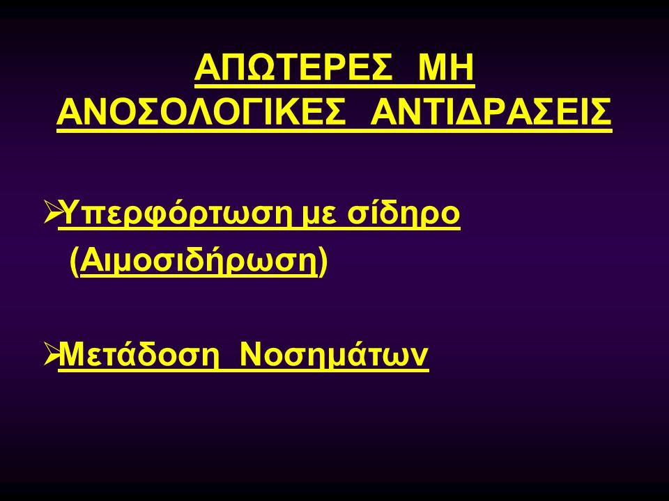 ΑΠΩΤΕΡΕΣ ΜΗ ΑΝΟΣΟΛΟΓΙΚΕΣ ΑΝΤΙΔΡΑΣΕΙΣ