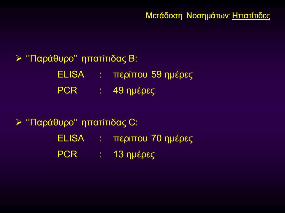''Παράθυρο'' ηπατίτιδας Β: ELISA : περίπου 59 ημέρες PCR : 49 ημέρες