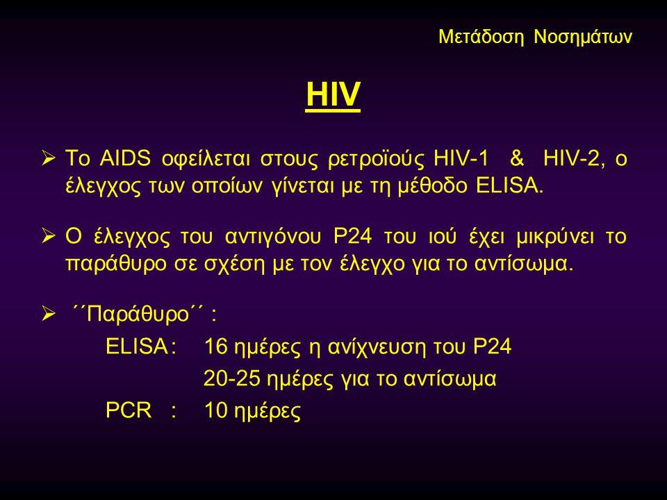 Μετάδοση Νοσημάτων HIV. Το AIDS οφείλεται στους ρετροϊούς HIV-1 & HIV-2, ο έλεγχος των οποίων γίνεται με τη μέθοδο ELISA.