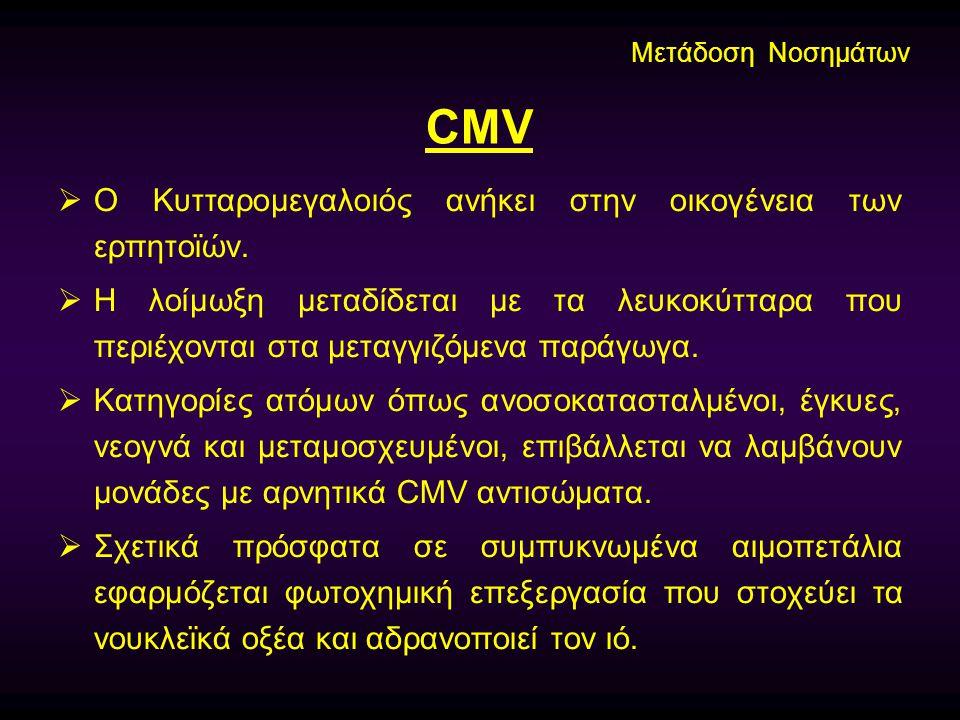 CMV Ο Κυτταρομεγαλοιός ανήκει στην οικογένεια των ερπητοϊών.