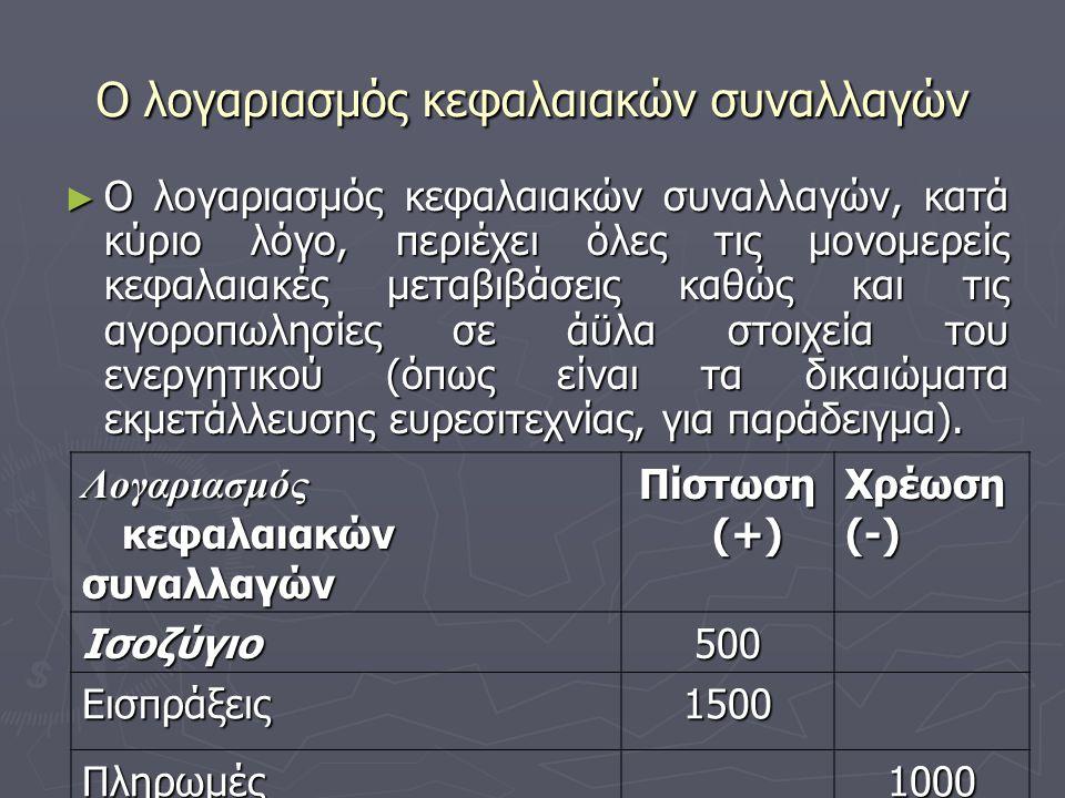Ο λογαριασμός κεφαλαιακών συναλλαγών