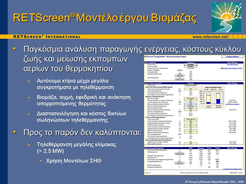 RETScreen® Μοντέλο έργου Βιομάζας
