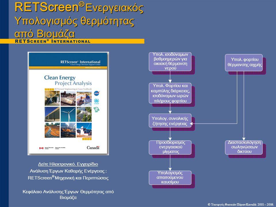 RETScreen® Ενεργειακός Υπολογισμός θερμότητας από Βιομάζα