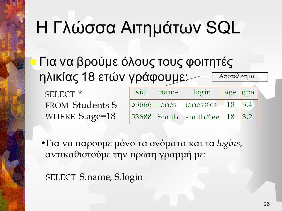 Η Γλώσσα Αιτημάτων SQL Για να βρούμε όλους τους φοιτητές ηλικίας 18 ετών γράφουμε: Αποτέλεσμα. SELECT *