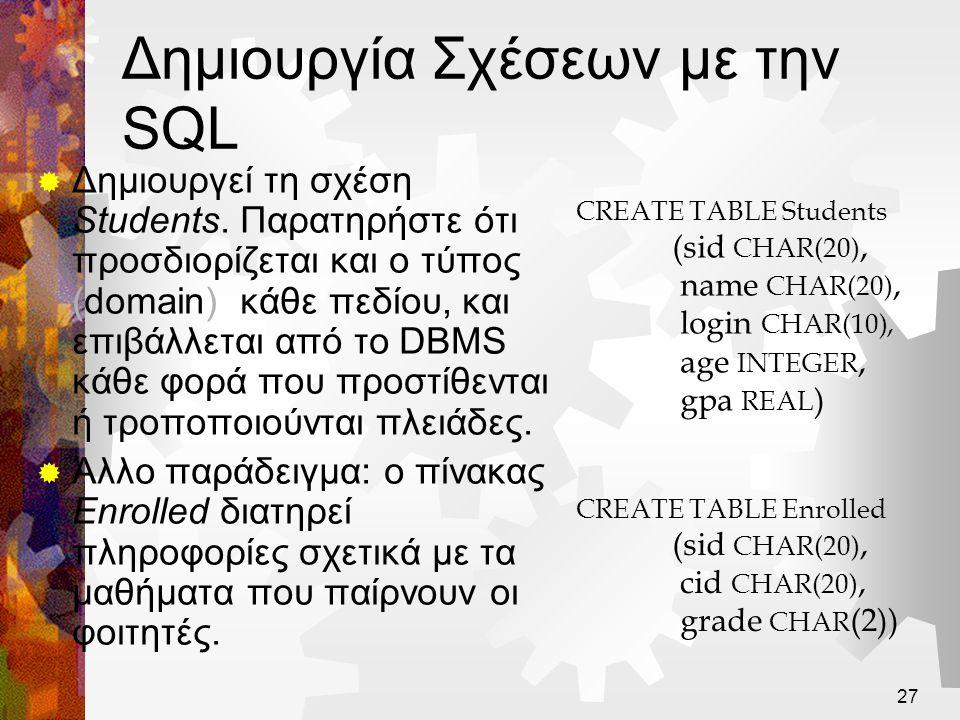 Δημιουργία Σχέσεων με την SQL