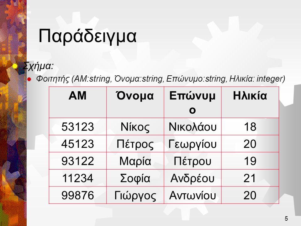 Παράδειγμα ΑΜ Όνομα Επώνυμο Ηλικία 53123 Νίκος Νικολάου 18 45123