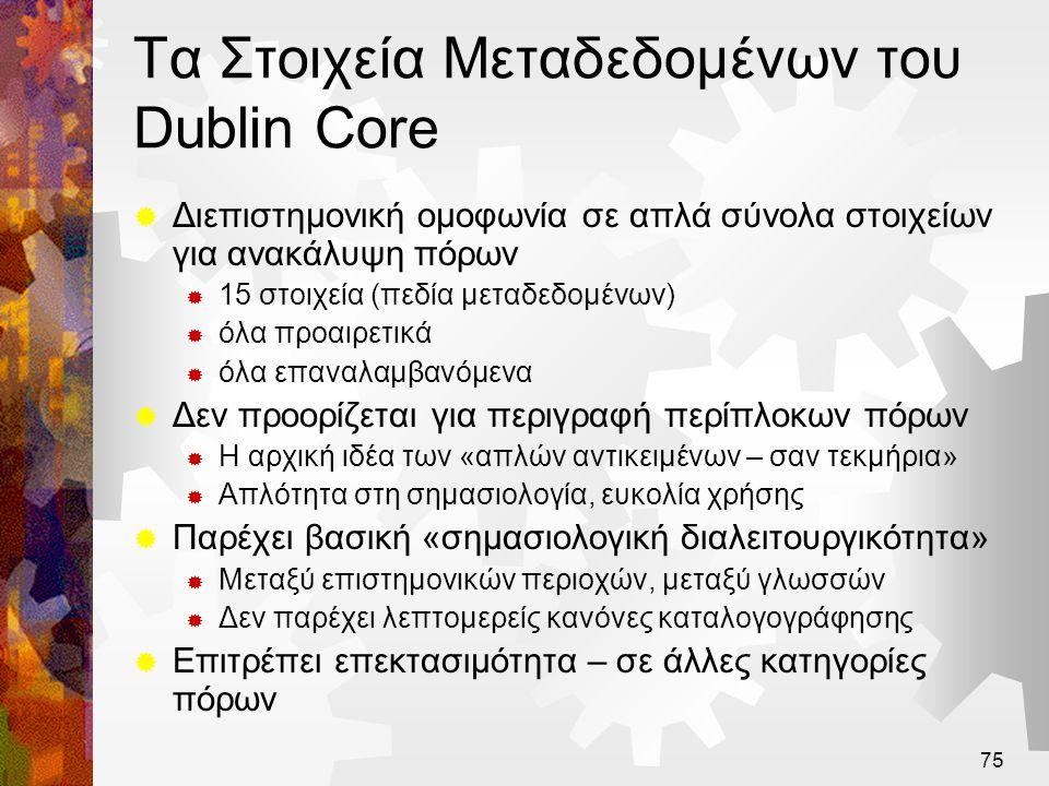 Τα Στοιχεία Μεταδεδομένων του Dublin Core