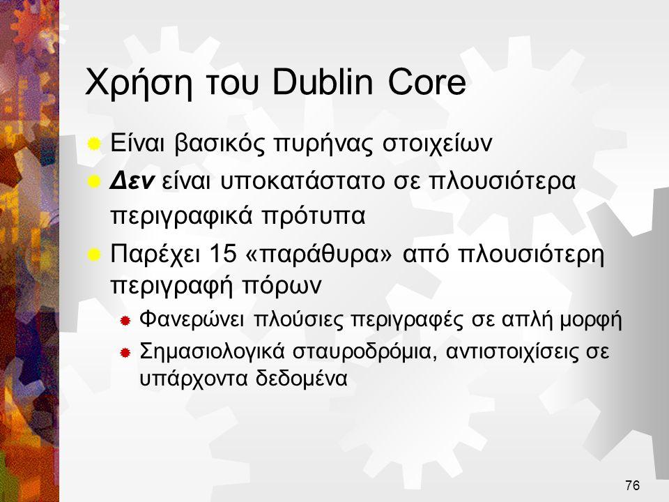 Χρήση του Dublin Core Είναι βασικός πυρήνας στοιχείων