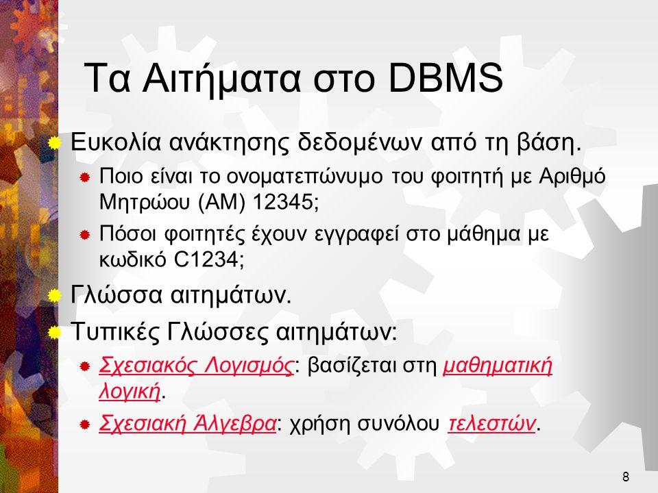 Τα Αιτήματα στο DBMS Ευκολία ανάκτησης δεδομένων από τη βάση.