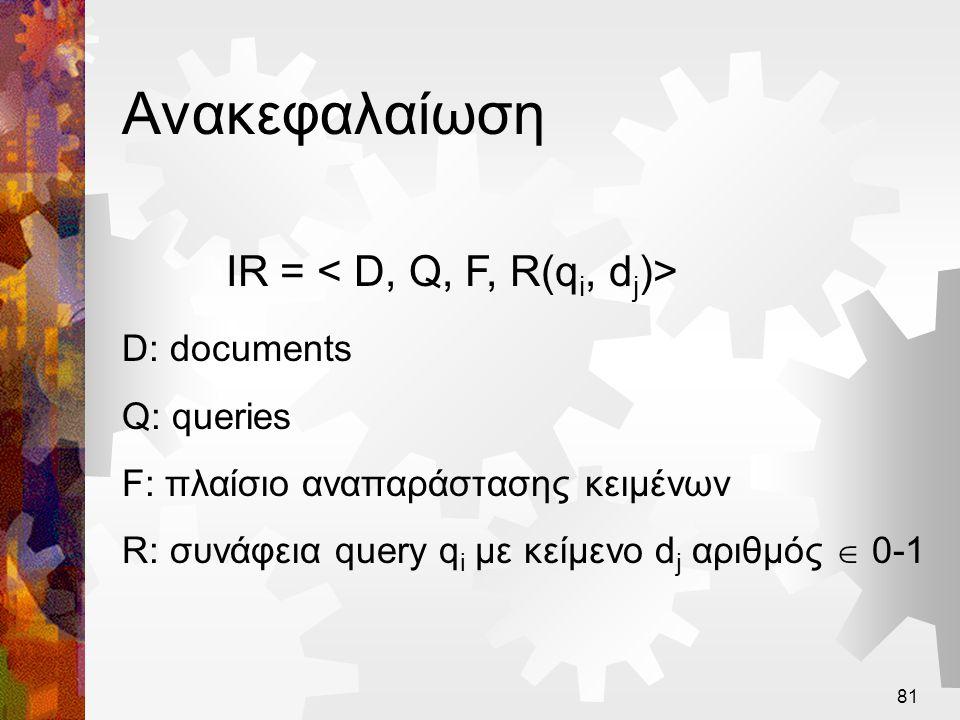 IR = < D, Q, F, R(qi, dj)>