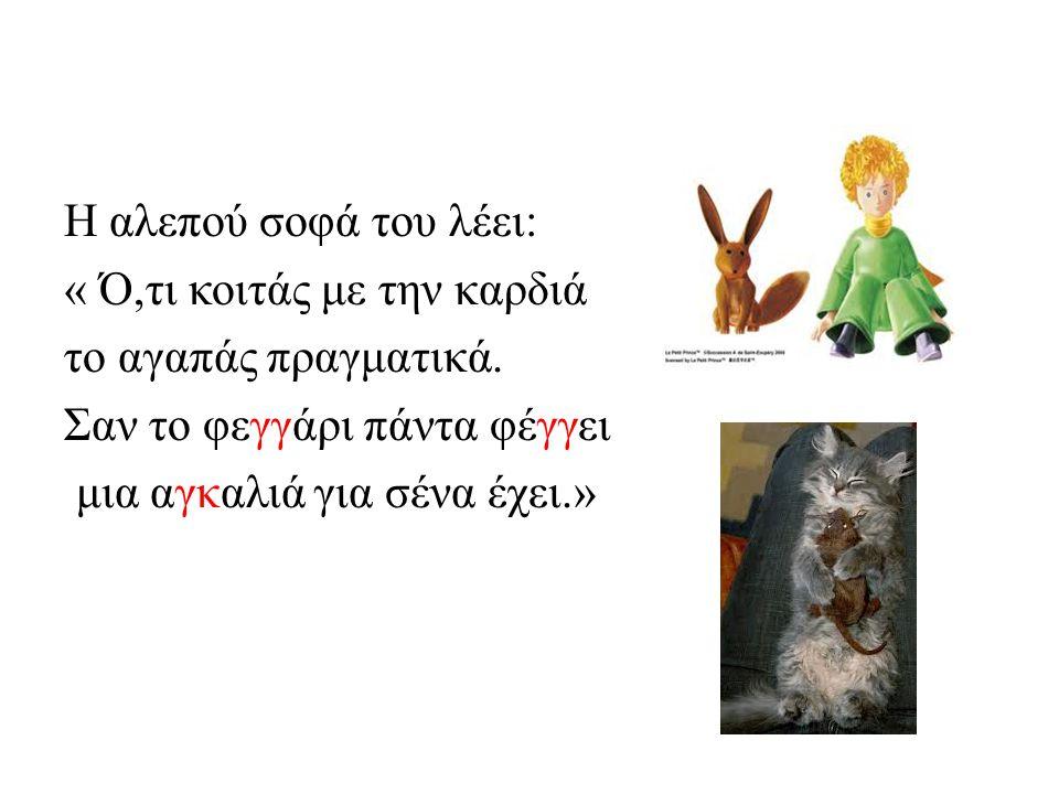 Η αλεπού σοφά του λέει: « Ό,τι κοιτάς με την καρδιά το αγαπάς πραγματικά.