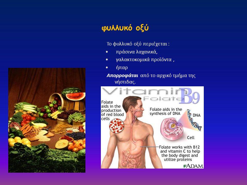 φυλλυκό οξύ Το φυλλυκό οξύ περιέχεται : πράσινα λαχανικά,
