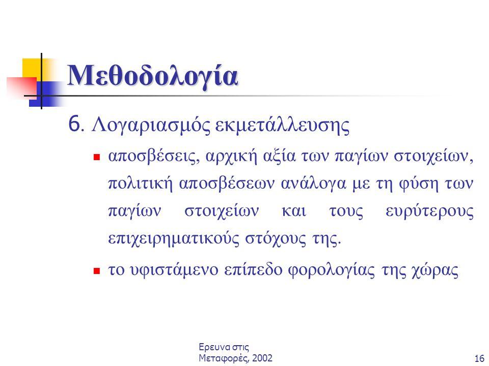Μεθοδολογία 6. Λογαριασμός εκμετάλλευσης