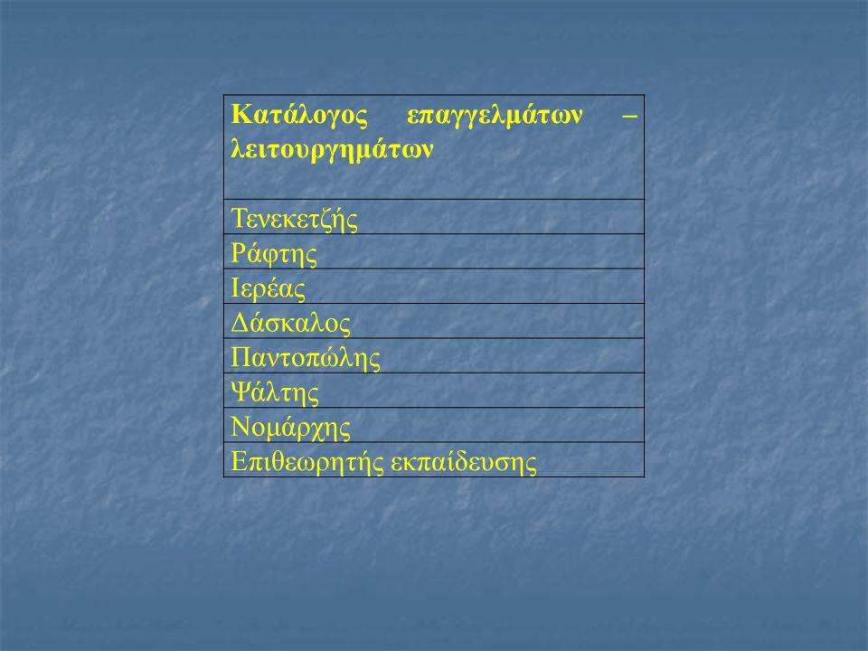Κατάλογος επαγγελμάτων –λειτουργημάτων