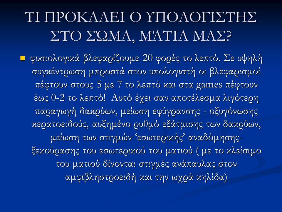 ΤΙ ΠΡΟΚΑΛΕΙ Ο ΥΠΟΛΟΓΙΣΤΗΣ ΣΤΟ ΣΏΜΑ, ΜΆΤΙΑ ΜΑΣ