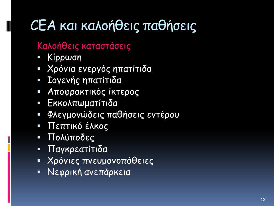CEA και καλοήθεις παθήσεις
