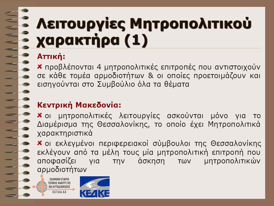 Λειτουργίες Μητροπολιτικού χαρακτήρα (1)