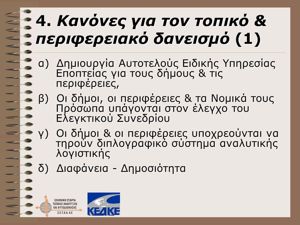 4. Κανόνες για τον τοπικό & περιφερειακό δανεισμό (1)