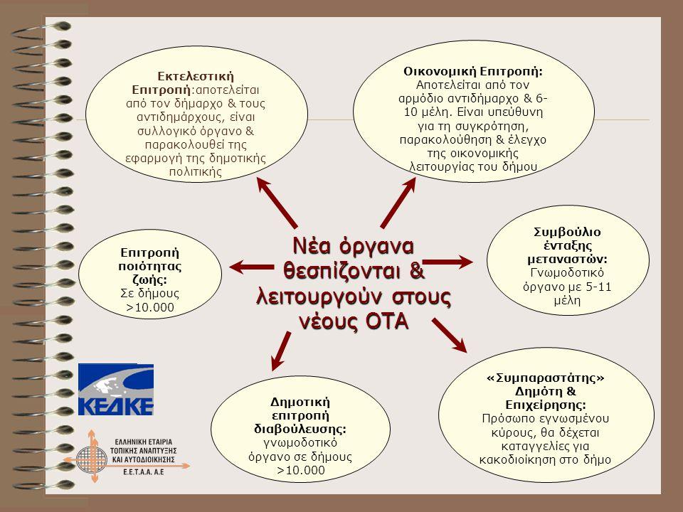 Νέα όργανα θεσπίζονται & λειτουργούν στους νέους ΟΤΑ
