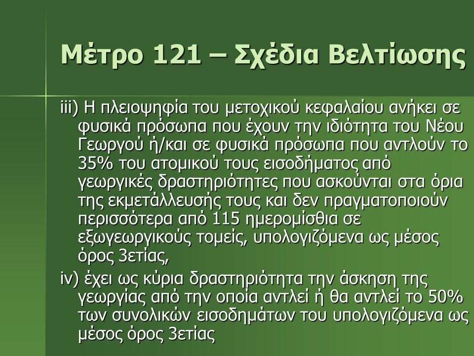 Μέτρο 121 – Σχέδια Βελτίωσης