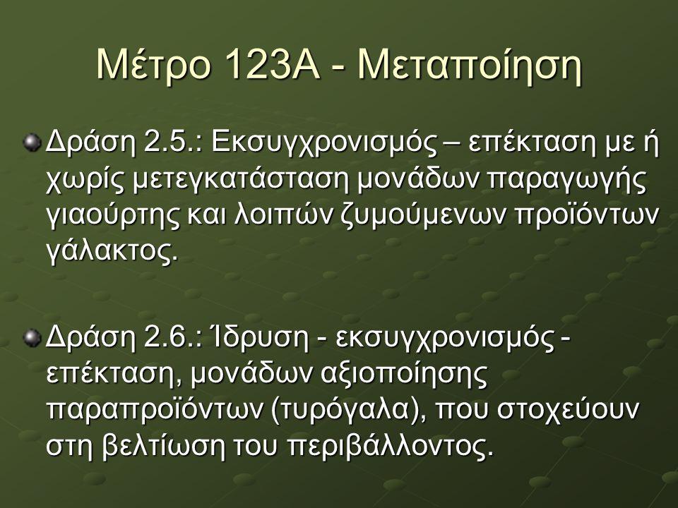 Μέτρο 123Α - Μεταποίηση