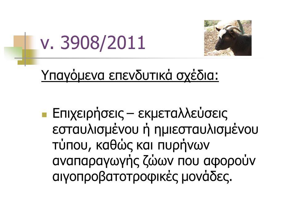 ν. 3908/2011 Υπαγόμενα επενδυτικά σχέδια: