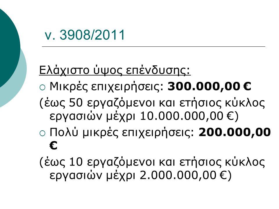 ν. 3908/2011 Ελάχιστο ύψος επένδυσης: