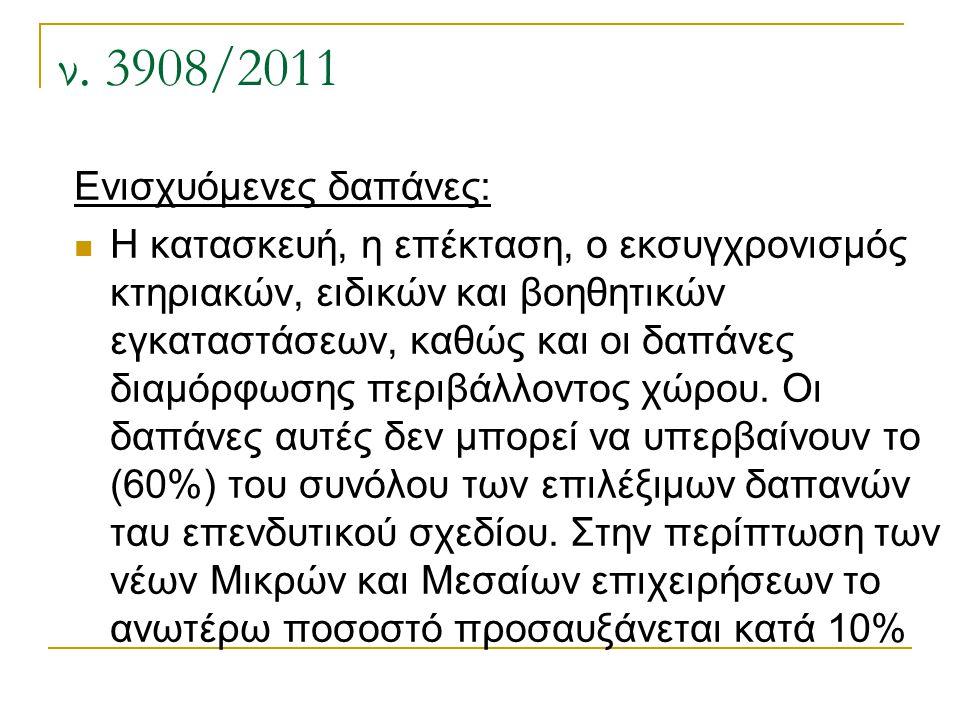ν. 3908/2011 Ενισχυόμενες δαπάνες: