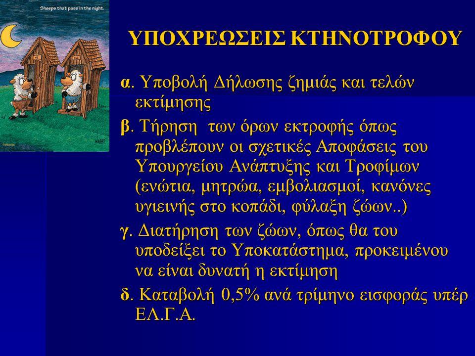 ΥΠΟΧΡΕΩΣΕΙΣ ΚΤΗΝΟΤΡΟΦΟΥ