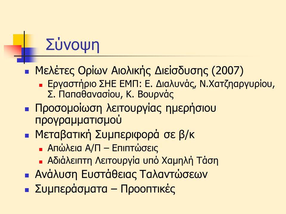 Σύνοψη Μελέτες Ορίων Αιολικής Διείσδυσης (2007)
