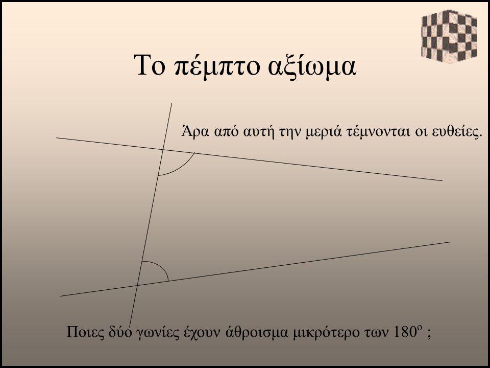 Το πέμπτο αξίωμα Άρα από αυτή την μεριά τέμνονται οι ευθείες.